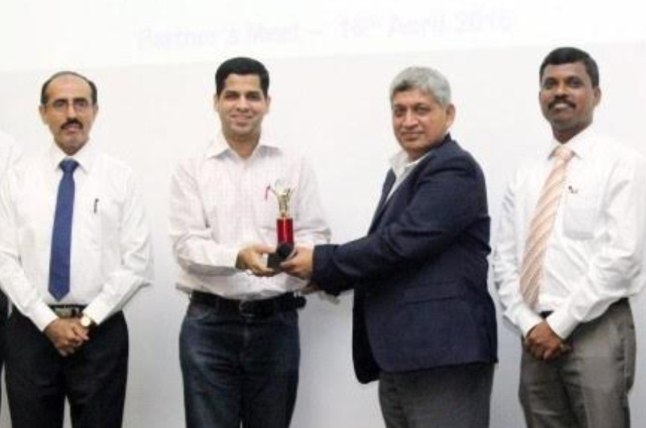 Receiving award at Vendor Meet ( Godrej Tooling) - 2015